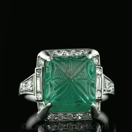 Art Deco Carved Emerald And Diamond Ring