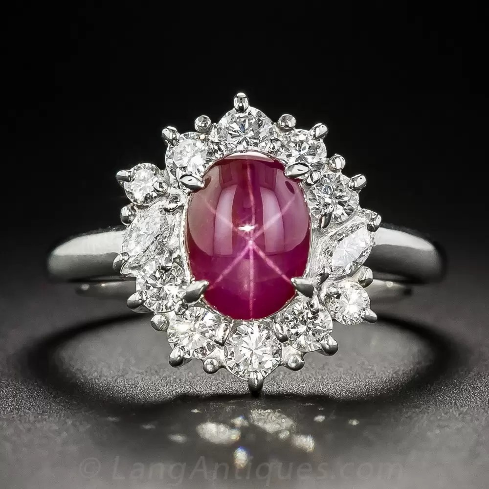 Estate Star Ruby Platinum Diamond Ring