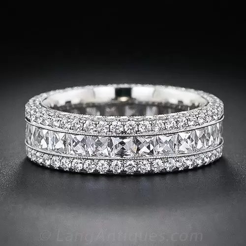 French Cut Wide Diamond Band
