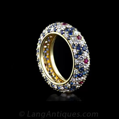Harry Winston Sapphire Ruby And Diamond Band Ring