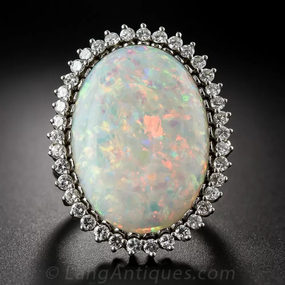 Large Opal And Diamond Cocktail Ring