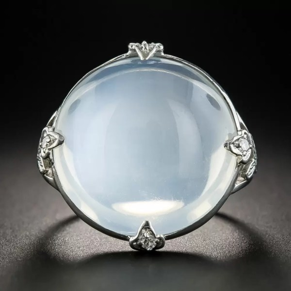 Large Vintage Platinum Moonstone Ring