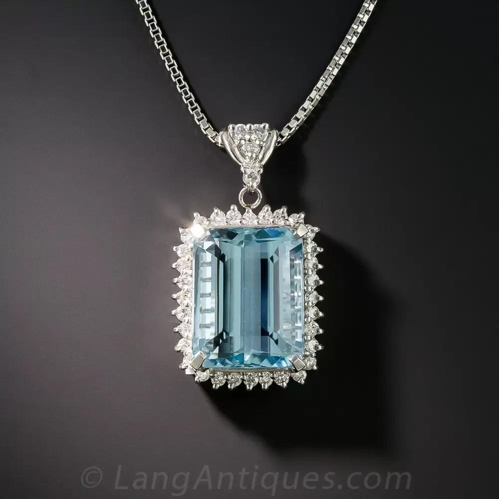 Platinum Aquamarine And Diamond Pendant Necklace