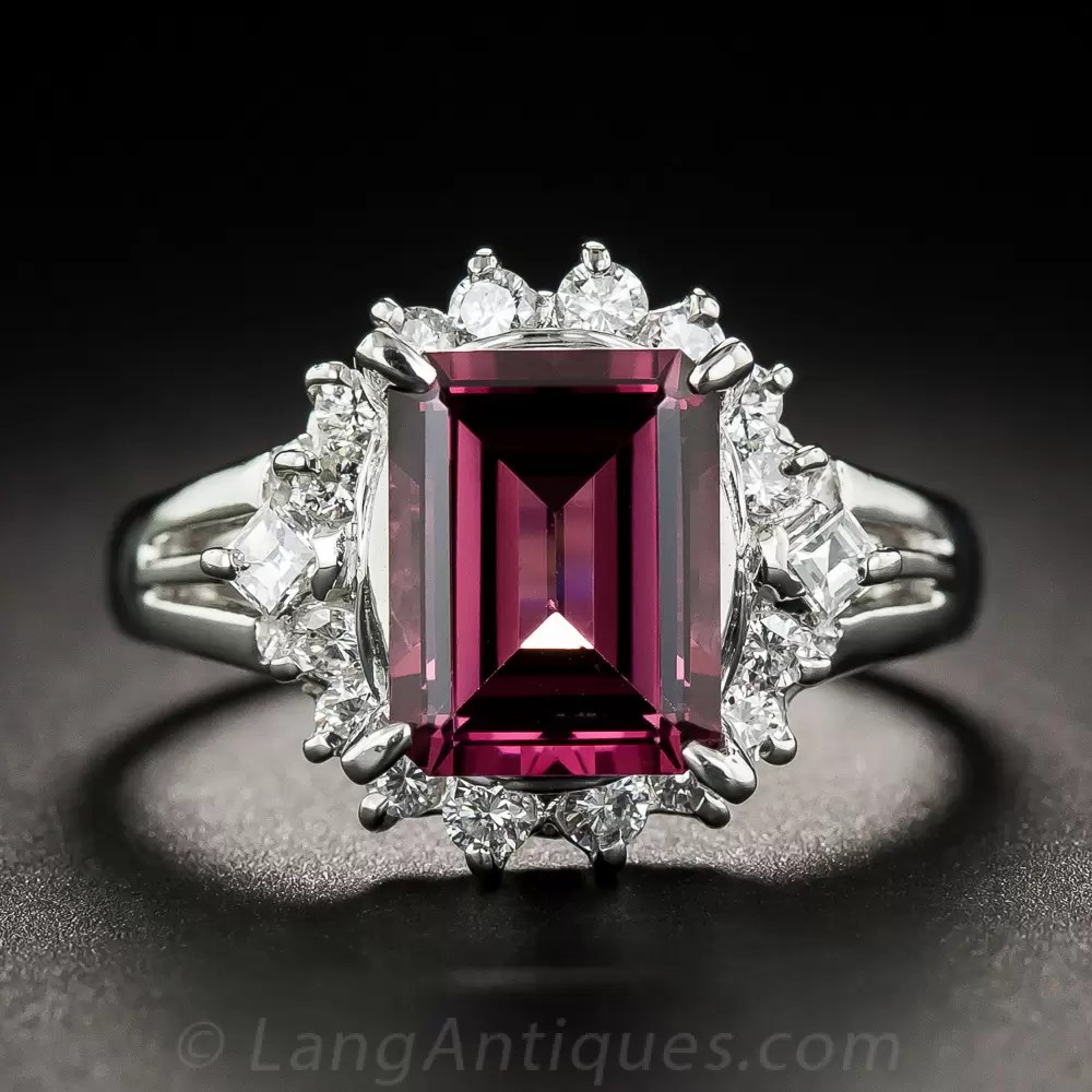 Rhodolite Garnet Platinum And Diamond Estate Ring