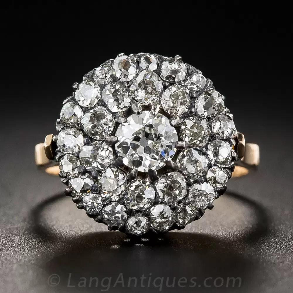 Victorian Round Cluster Diamond Ring