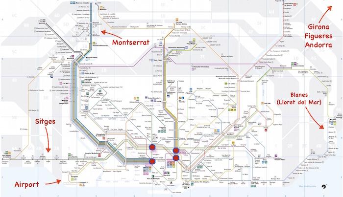 Barcellona Mappe Con Attrazioni Turistiche E Trasporti