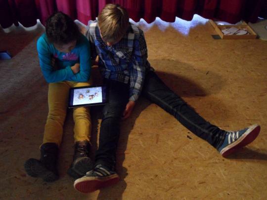 Kinder betrachten in einem Video das Schlüpfen von Regenwürmern