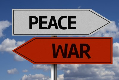 Creative sign with the message - Peace, War