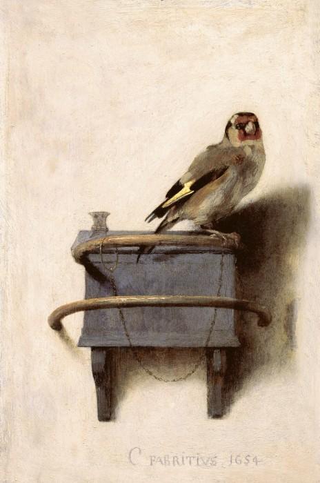 Carel Fabritius, Il cardellino, 1654 olio su tavola, cm 33,5 x 22,8 L'Aia, Gabinetto reale di pitture Mauritshuis acquisito nel 1896 (Inv. n. 605) © L'Aia, Gabinetto reale di pitture Mauritshuis