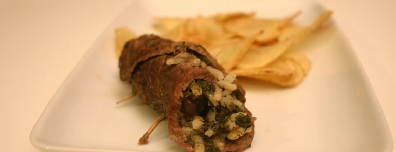 involtini di manzo al curry con papate chips