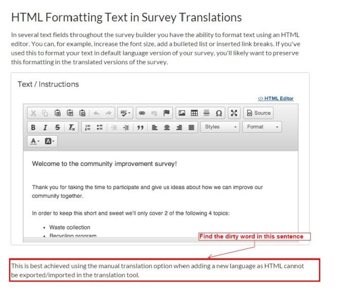 Survey Gizmo screenshot for Survey translation