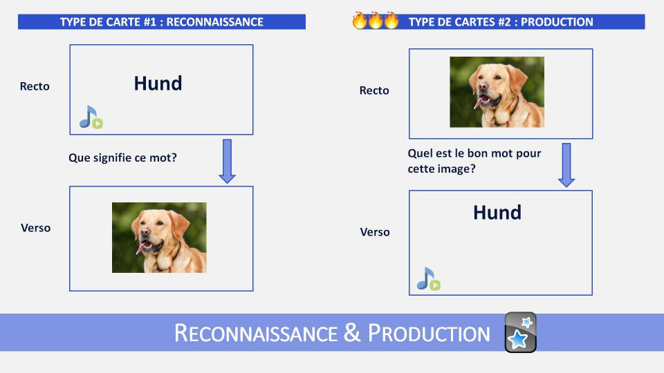 Anki permet de créer des cartes qui vous testent dans les deux sens : reconaissance d'un mot et production