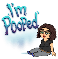 tired bitmoji I'm pooped