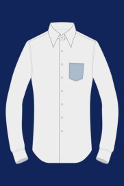 Made-to-measure shirt with pointed pocket