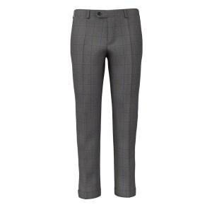 Grey Blue Overcheck Trousers by Loro Piana