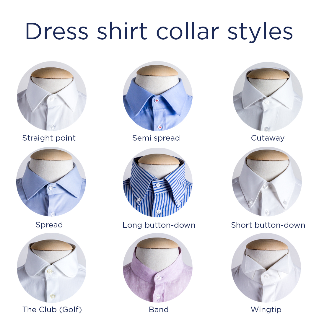 Dress shirt collar styles the complete guide from casual for Different types of dress shirt collars