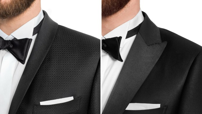 Tuxedo detail on jacket lapels: shawl and peaked (pointed)