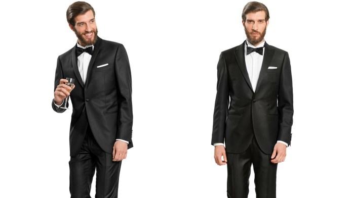 Homme en deux poses, vêtu d'un smoking homme noir, chemise à col diplomatique, papilllon noir et pochette blanche.