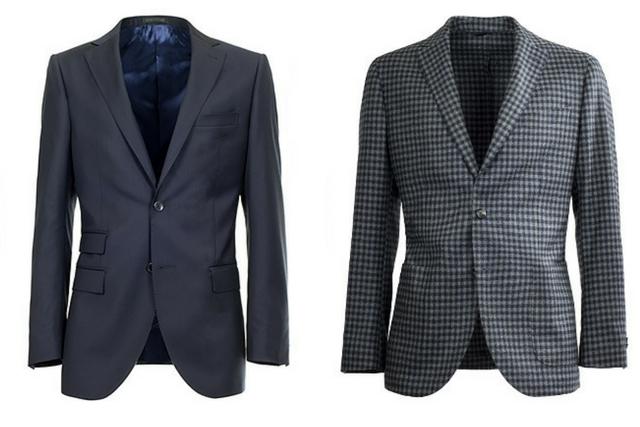 Giacca e blazer da uomo a confronto fianco a fianco  a sinistra un giacca  blu c3275a9cd3c