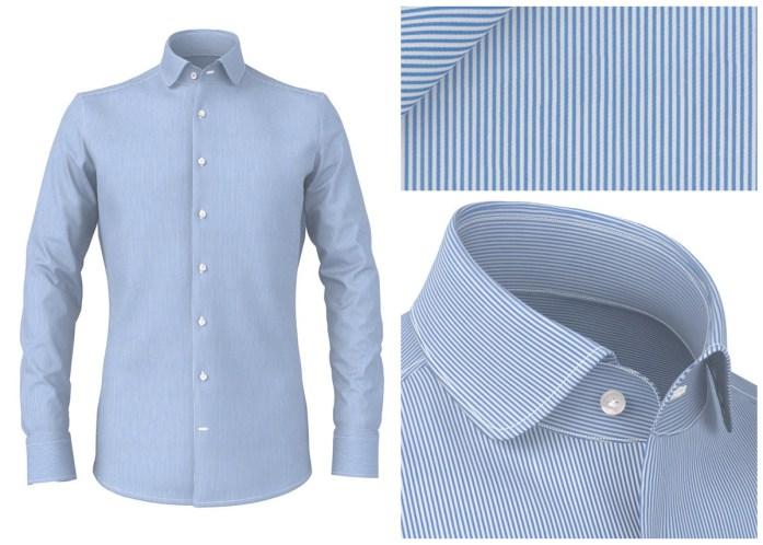 camicia a righe azzurre e bianche