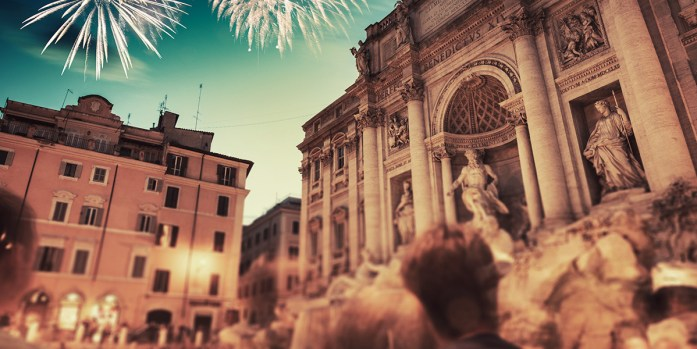 New Year's fireworks at the Trevi Fountain in Rome