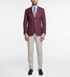 Broken suit: burgundy jacket and beige pants