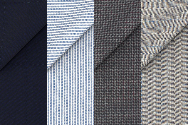 Fabrics Blue Checked, Light Blue Seersucker, Light Grey Houndstooth and Super 180's Stone Herringbone