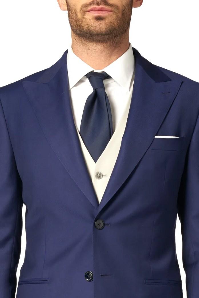 Peak lapel on a two-button blue suit
