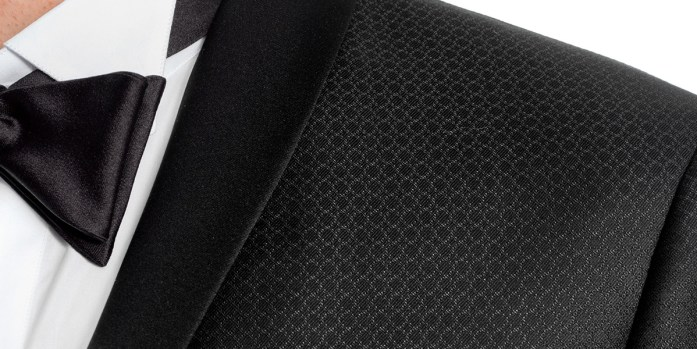 Detail of a shawl collar on a black tuxedo