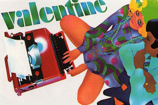 Pubblicità macchina da scrivere Valentine Olivetti