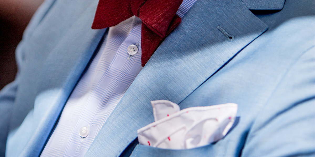 911aa516da light-blue linen suit, combined with pocket square and customised bow tie