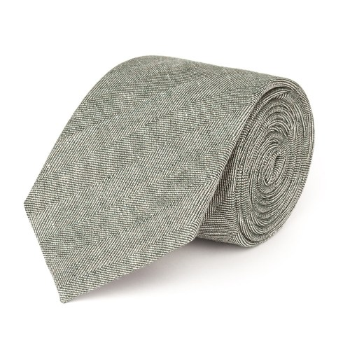 Green summer tie with herringbone motif made from a linen fabric by Lanieri