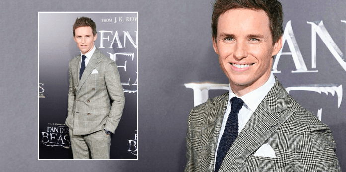 British actor Eddie Redmayne wearing a Prince of Wales suit