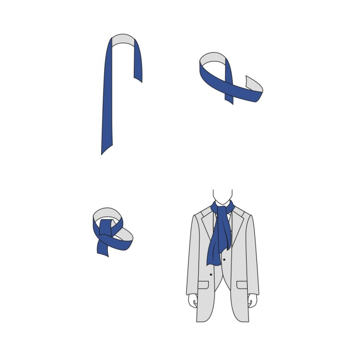 Ascot knot for scarf: infographic step by step