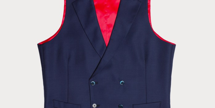 Blue double-breasted waistcoat with red lining