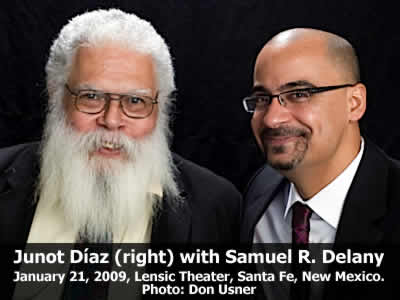 Junot Díaz (right) read from his work and joined in conversation with Samuel R. Delany at the Lensic Theater in Santa Fe, New Mexico, Wednesday, January 21, 2008. Photo: Don Usner