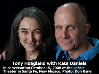 Tony Hoagland in conversation with Kate Daniels at the Lensic Theater in Santa Fe, New Mexico, Wednesday, October 15, 2008. Photo: Don Usner