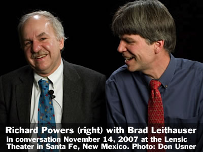 Richard Powers (right) in conversation with Brad Leithauser at the Lensic Theater in Santa Fe, New Mexico, Wednesday, November 14, 2007. Photo: Don Usner