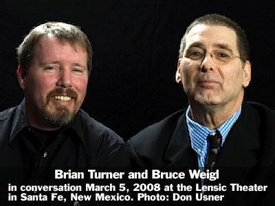 Brian Turner (right) and Bruce Weigl at the Lensic Theater in Santa Fe, New Mexico, Wednesday, March 5, 2008. Photo: Don Usner