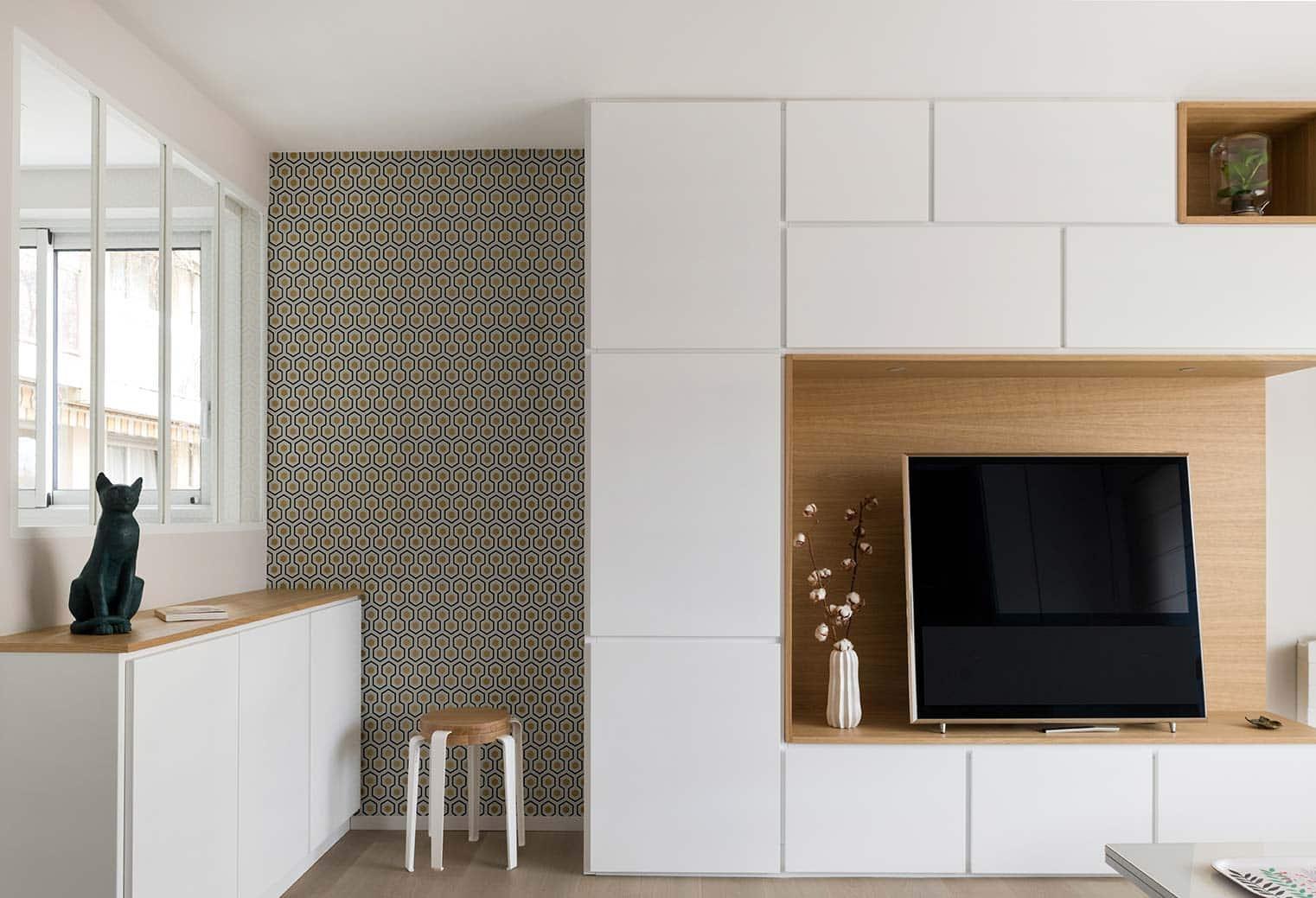 Meuble Four Plaque Induction lignes graphiques - marion lanoe, architecte d'intérieur et