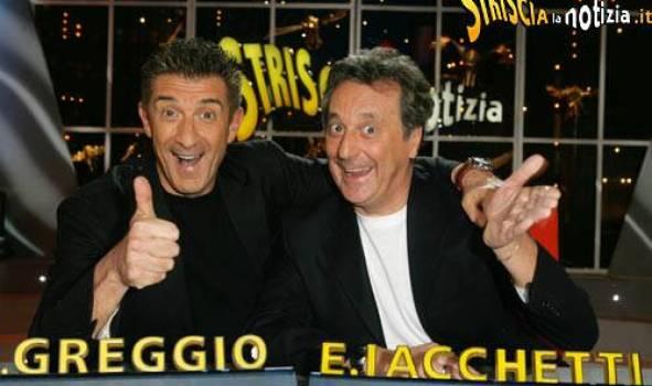 Foto di Ezio Greggio ed Enzo Iacchetti a Striscia la Notizia