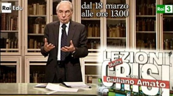Giuliano Amato conduce Lezioni dalla crisi