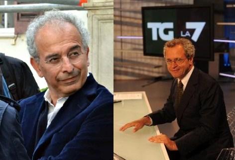 Enrico Mentana e Gad Lerner con Diego Della Valle