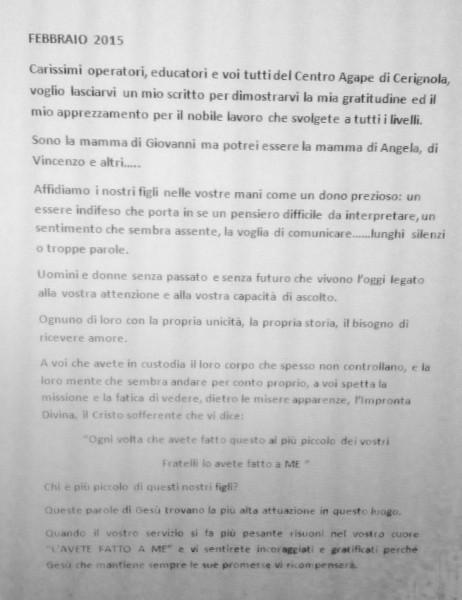 Lettera Centro Diurno Agape