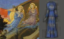"Heavenly Bodies: Fashion and the Catholic Imagination"" Left: Attr. to Zanobi Strozzi, The Nativity (detail), c. 1433–34, tempera and gold on wood; right: Evening Dress, Jeanne Lanvin for Lanvin, 1939 Photos: The Metropolitan Museum of Art, Gift of May Dougherty King, 1983 (1983.490) / © Metropolitan Museum of Art; The Metropolitan Museum of Art, Gift of Mrs. Harrison Williams, Lady Mendl, and Mrs. Ector Munn, 1946 (C.I.46.4.17a–c) / Image courtesy of The Metropolitan Museum of Art, Digital Composite Scan by Katerina Jebb"