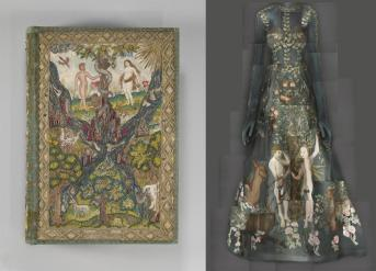 """Heavenly Bodies: Fashion and the Catholic Imagination"""" Left: Bible and Book of Common Prayer, British, c. 1607, silk and metal; right: Evening Dress, Maria Grazia Chiuri and Pierpaolo Piccioli for Valentino, Spring 2014 haute couture Photos: The Metropolitan Museum of Art, Gift of Irwin Untemeyer, 1964 (64.101.1291) / © Metropolitan Museum of Art; Courtesy of Valentino S.p.A. / Image courtesy of The Metropolitan Museum of Art, Digital Composite Scan by Katerina Jebb"""