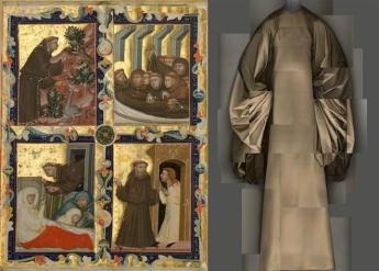 """Heavenly Bodies: Fashion and the Catholic Imagination"""" Left: Manuscript Leaf With Scenes From the Life of Saint Francis of Assisi, Italian, c. 1320–42, tempera and gold on parchment; right, Evening Dress, Madame Grès, 1969 Photos: The Metropolitan Museum of Art, Gift of Mr. and Mrs. Edwin L. Weisl, Jr., 1994 (1994.516) / © Metropolitan Museum of Art; ; Brooklyn Museum Costume Collection at The Metropolitan Museum of Art, Gift of the Brooklyn Museum, 2009; Gift of Mrs. William Randolph Hearst, Jr., 1988 (2009.300.1373) / Image courtesy of The Metropolitan Museum of Art, Digital Composite Scan by Katerina Jebb"""
