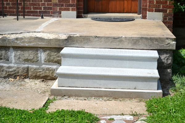 crumbling concrete porch repaired