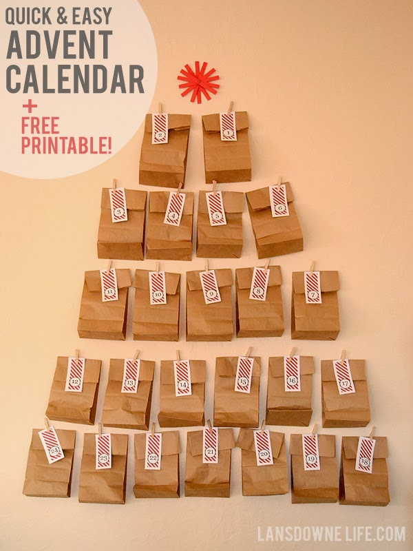 Last Minute DIY Advent Calendar FREE Printable Number