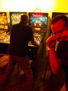 Chris playing while Mike cries.